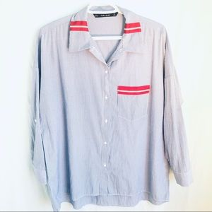 Zara Light Blue Striped Oversized Shirt